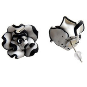 Jewelry - White and Black Acrylic Rose Stud Pierced Earrings